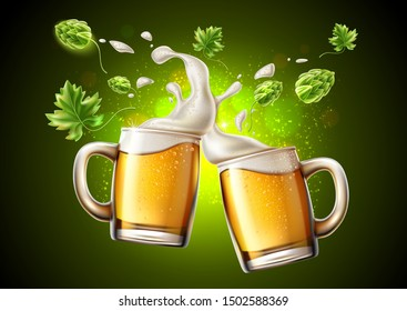 Realistic lager beer glass toasting with and green hop and froth around. Oktoberfest festival advertising poster design. Traditional german beer holiday in october. Pub, restauran and bar design