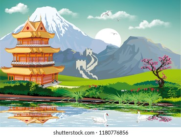Realistic landscape of China. Chinese pagoda in the traditional Oriental style on the lake.