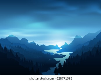 Realistic landscape of mountains with bright river and Pine Forest - Vector Illustration