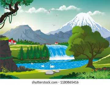 Realistic landscape-swans on a mountain lake near the waterfall
