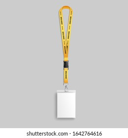 Realistic lanyard badge the employee identification tag for security access 3d vector illustration mockup. Blank plastic ID card holder with yellow neck lanyard editable.