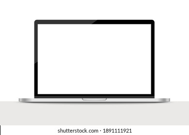 Realistic laptop with blank screen, Electronic device mockup