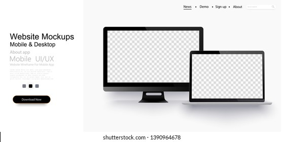 Realistic laptop and  computer monitor isolated on transparent background. Vector mockup. Vector illustration.