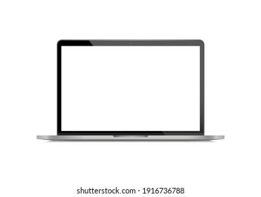 Realistic laptop front view. Laptop modern mockup. Blank screen display notebook. Opened computer screen. Smart device.