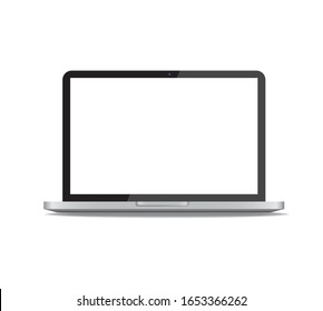 Realistic laptop in front view vector illustration isolated on white background. Computer notebook with webcam and empty screen mockup or template.