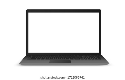 Realistic laptop mockup with white screen isolated on white background. Vector illustration.