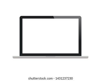 Realistic laptop monitor on white background. Stock vector illustration