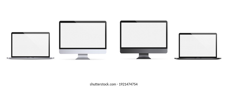 Realistic laptop, notebook. Computer monitor illustration. Light and dark theme. Computer monitor icon. White blank display. Vector EPS 10. Isolated on transparent background