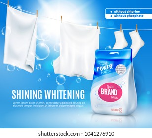 Realistic laundry detergent for automatic wash machine ad poster on blue background with white clothing vector illustration