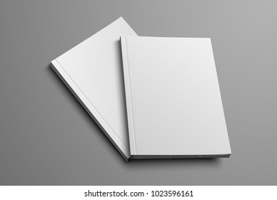 A realistic layout of the brochure for the presentation of the cover. Two vector catalog mockup format A4 and A5 on a gray background. Set.