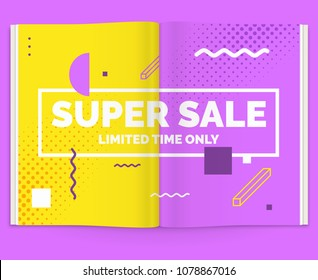 Realistic layout of the magazine. Open brochure with advertising for sale. Vector illustration.