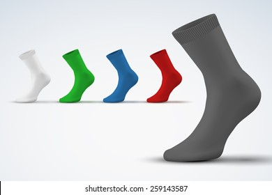 Realistic layout of socks. A template simple example. vector illustration, isolated on white background