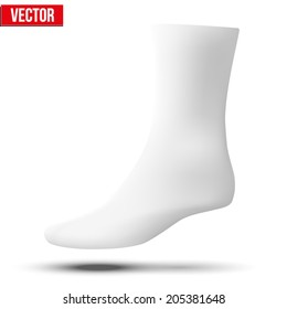 Realistic layout of white socks. A template simple example. vector illustration, isolated on white background