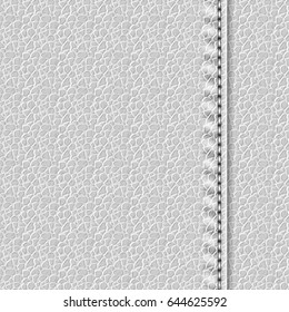Realistic leather texture with a seam. White leather background with stitching. Vector illustration