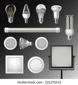 Realistic led lamps of different size and shape set isolated vector illustration