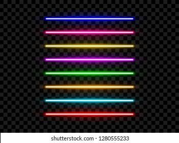 Realistic led neon tube light pack isolated on dark transparent background. Vector illustration