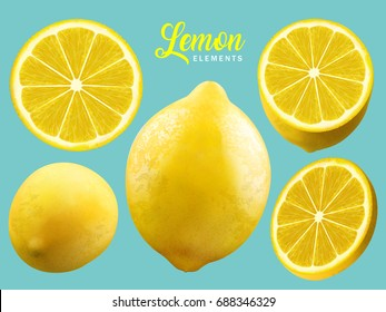 Realistic Lemon elements, natural and refreshing yellow lemon isolated on turquoise background, 3d illustration