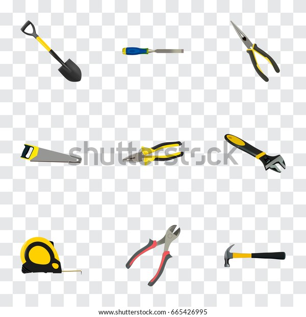 Realistic Length Roulette, Wrench, Claw And Other Vector Elements. Set Of Instruments Realistic Symbols Also Includes Tool, Roller, Tape Objects.