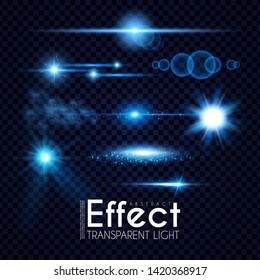 Realistic Lens Flare Elements Collection. Light Effect Transparent Design.