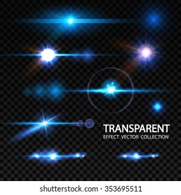 Realistic Lens Flare Elements Collection. Light Effect Transparent Design. Vector illustration