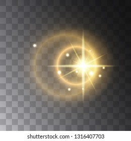 Realistic Lens flare light effect on transperent background. Can be applyed on any image. Glowing sunlight effect flash with rays and spotlight. Bright sparks. Vector element