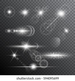 Realistic lens flare light effects. Transparent vector illustration