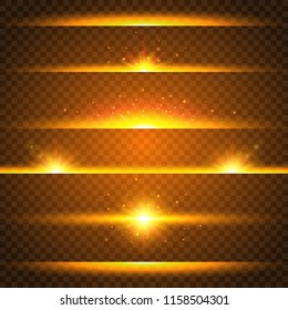 Realistic lens flare set. Collection of gold light effects on transparent background. Flash with rays and spotlight. Glowing lights, stars and sparkles. Vector illustration.