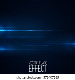 Realistic lens flares on transparent . Abstract light effect with bokeh and glowing parts , Vector light source for your design .