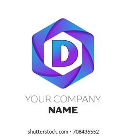 Realistic Letter D vector logo symbol in the colorful hexagonal on white background. Vector template for your design