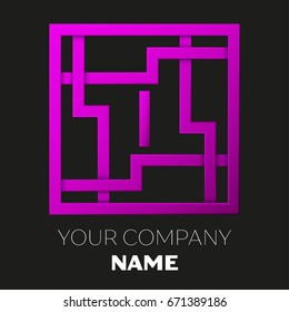Realistic Letter I vector logo symbol in the colorful square maze on black background. Shadow Breaks. Vector template for your design