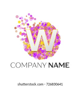 Realistic Letter W logo with red, purle, yellow particles and bubble dots in circle on white background. Vector template for your design