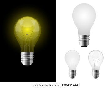 Realistic lightbulb vector design illustration isolated on background