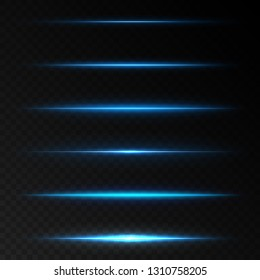 Realistic lighting effects. Horizontal optical lens flare. Blue shining beam.  Set of transparent vector effects for design isolated on black background
