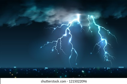 Realistic lightning bolts flashes composition with view of night city sky with clouds and thunderbolt images vector illustration
