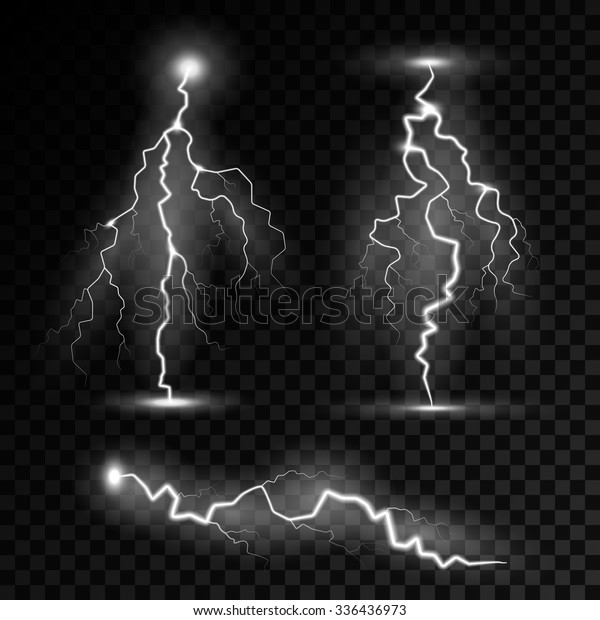 Realistic Lightning Bolts Transparency Blend Easily Stock Vector