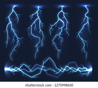 Realistic lightnings. Electricity thunder light storm flash thunderstorm in cloud. Nature power energy charge, thunder shock in set