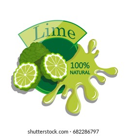 Realistic lime. Berry label with juice splash. Vector illustration isolated on white background. 100% natural organic fruit