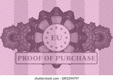 Realistic linear decoration European Union icon emblem with proof of purchase text on delicate pink wavy curve background. Intense illustration.