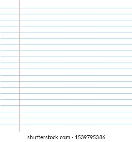 Realistic lined notepapers with blank space, school concept.