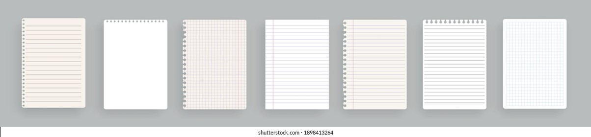 Realistic lined notepapers.Set of torn sheet of paper from a workbook with shadow, isolated. Illustrations of a torn sheet paper.Vector pads paper sheets with lines and squares for memo. Vector illust