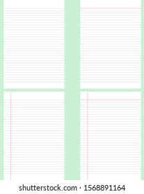 Realistic lined paper set. Lined notebook for student.