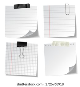Realistic lined sticky notes with clip binder and adhesive tape. Blank note paper sheets. Information reminder. Vector illustration.
