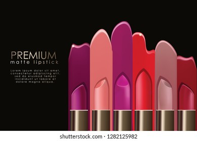 Realistic lipstick ad, promotion or branding template. Fully scalable and editable EPS file