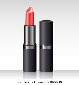 realistic lipstick red on a white background