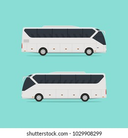 A realistic little tourist bus on two sides isolated on a light background. No gradients. Vector illustration.