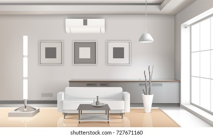 Realistic living room interior in light tones with furniture, lamps, picture frames, beige floor 3d vector illustration