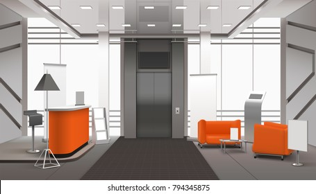 Realistic lobby interior in orange grey color with reception desk, waiting area near lift, banners vector illustration