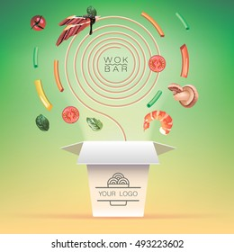 realistic logotype of buckwheat noodles, egg noodles,rice noodles in wok box with  shrimps,mushrooms,  eel and vegetables