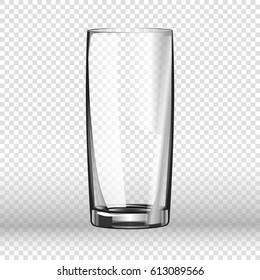 Realistic long drinking glass isolated on transparent background.
