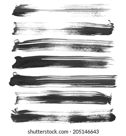 Realistic long smears of black ink vector illustration